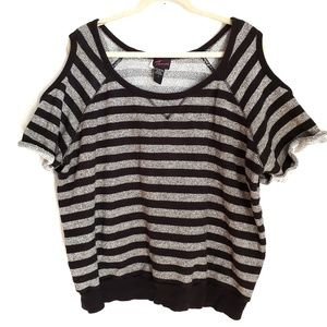 TORRID Striped Cold Shoulder Sweatshirt Size 3